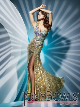 2012 Tony Bowls Gold Sequin Prom Dress 112754