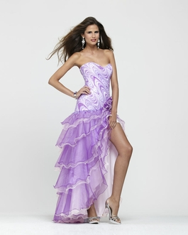 Clarisse Strapless Printed Purple Ruffle Gown 2171