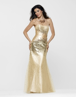2013 Clarisse Gold Strapless Prom Gown 2115