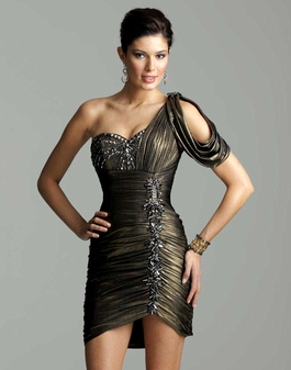 Classic Clarisse Short Grecian Gold Gown 2045