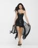 Clarisse Black One Shoulder High Low Gown 2174