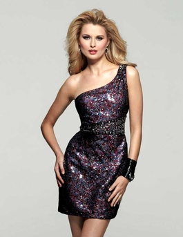 Clarisse Short Multicolored Sequin gown 2033