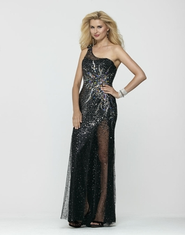 One Shoulder Clarisse Black Beaded long Gown 2176