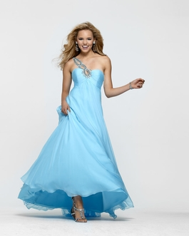 Clarisse Long One Shoulder Long Sky Blue Prom Gown 2158