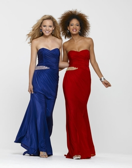 Clarisse Long Strapless Red or Blue Prom Gown 2137