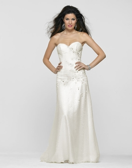 Clarisse Long Strapless Sweetheart Ivory Gown 2104