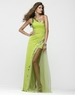 Clarisse One Shoulder Long Lime or Purple Prom Gown 2146