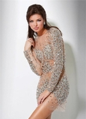 Jovani Nude Sequin Dress 7757