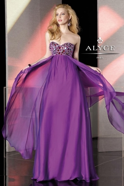 Purple Strapless Beaded Alyce Prom Gown 35522