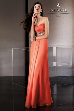 Strapless Coral Alyce Gown 35499