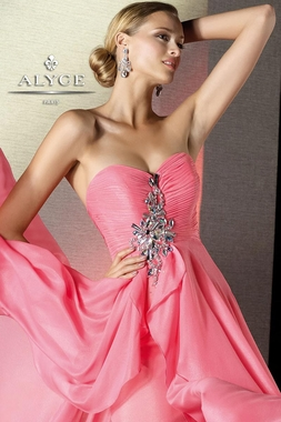 Strapless High Low Alyce Gown 35503