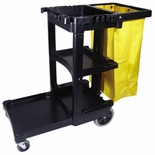 CLEANING CART W/ZIPPERED YEL VINYL BAG