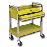 SERVICE CART W/LOCKING TOP & DRAWER YELLOW