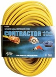 100' 12/3 YELLOW VINYL EXTENSION CORD W/ LIGHTED END SJTW