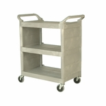 UTILITY CART W/ ENCLOSED END PANELS 3-SHELF PLASTIC