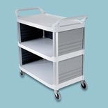 3-Shelf Utility Cart, Enclosed on 3 Sides