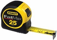 "STANLEY 1-1/4"" X 25' FAT MAX REINFORCED W/BLADE ARMOR TAPE RULE"