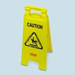 CLOSED 2 SIDE FLOOR SIGN 26X11X12 MULTILINGAL YELLOW