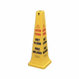 WET FLOOR SAFETY CONE 12.25X12.25X36 MULTILINGAL YELLOW