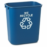 DESKSIDE PAPER RECYCLING CONTAINERS W/RECYCLING SYMBOL BLUE