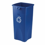 "TOUCH-FREE SQUARE RECEPTACLE 23 GAL BLU ""WE RECYCLE"""