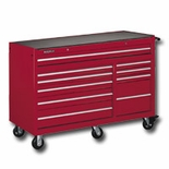 "56""W X 24""D XQL ROLLER CABINET,10 DRAWER-RED"