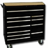 "40""BLACK 11-DRAWER ROLLER CABINET,RLR BEARING"