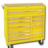 "40""YELLOW 11-DRAWER ROLLER CABINET, RLR BEARING"