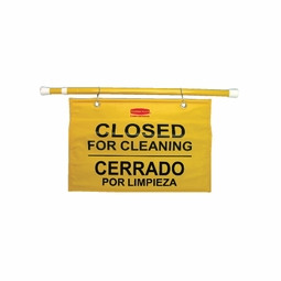 TWIST-POLE CLOSED HANGING SIGN 50IN MULTILINGAL YELLOW