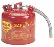 "5 GAL TYPE II RED SAFETY CAN WITH 12"" FLEX SPOUT 1""OD"
