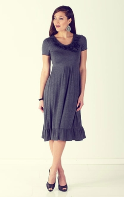 """Emma"" Modest Dresses in Heather Grey"