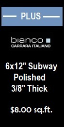 Carrara (Carrera) Bianco Polished 6x12 Subway Floor and Wall Marble Tile