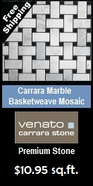 "Carrara (Carrera) Venato 1x2"" Basketweave Honed Mosaic"