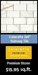 "Calacatta Gold Italian Marble 3x6"" Subway Tile Polished"