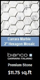 "Carrara (Carrera) Bianco Honed 2"" Hexagon Marble Mosaic Tile"