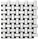 Carrara (Carrera) Bianco Polished 1x2 Basketweave Marble Mosaic Tile