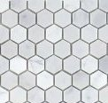 "(Sample Approx. 6x6"" Piece) Carrara Venato Hexagon Honed 1"" Mosaic"