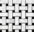 (Sample) Carrara Venato Basketweave Honed Mosaic 1x2""