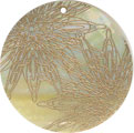 Mother of pearl shell round in gold