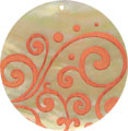 Mother of pearl shell round in orange