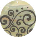 Mother of pearl shell round in black