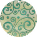 Mother of pearl shell round in green