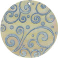 Mother of pearl shell round in blue