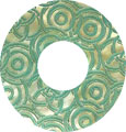 Mother of pearl shell donut in green w/o top hole