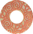 Mother of pearl shell donut in orange w/o top hole
