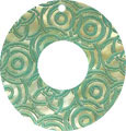 Mother of pearl shell donut in green w/top hole