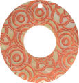 Mother of pearl shell donut in orange w/top hole
