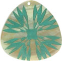 Mother of pearl shell triangle in green
