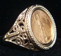 Filigree 14k Gold Coin Rings