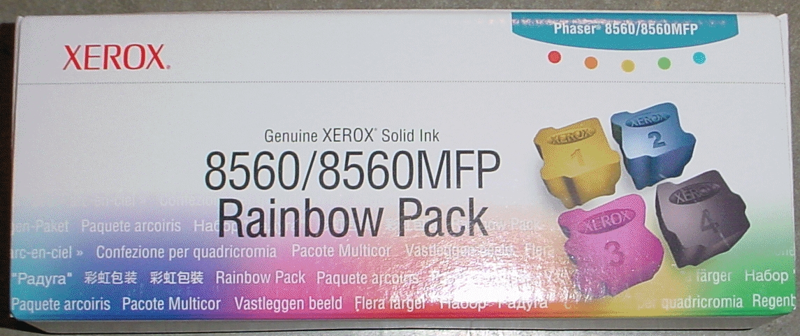 PCC Part# PCC8560RP GENUINE XEROX SOLID INK for Xerox 8560 / 8560MFP, XEROX Rainbow Boxed Retail Pack Rainbox Pack Box includes Cyan, Magenta, Yellow & Black - One Stick Each Color PCC Part# PCC8560RP